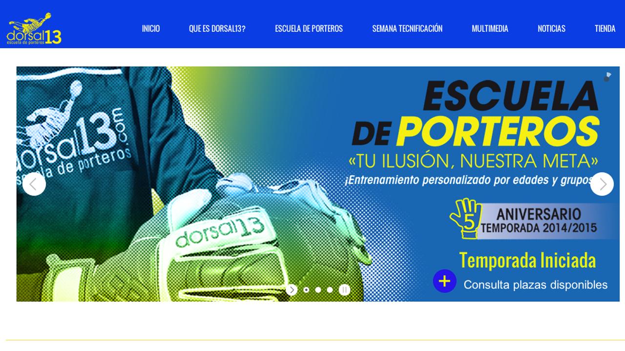 Nueva web dorsal13 escuela de porteros. www.dorsal13.com
