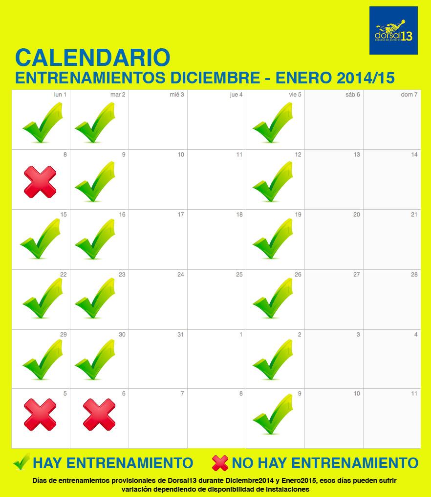 Calendario Navidad Dorsal13 2014/15